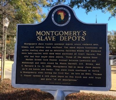 Montgomery's Slave Depots Marker image. Click for full size.