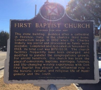 First Baptist Church Marker (reverse) image. Click for full size.