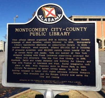 Montgomery City-County Public Library Marker image. Click for full size.