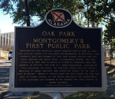 Oak Park Montgomery's First Public Park Marker image. Click for full size.