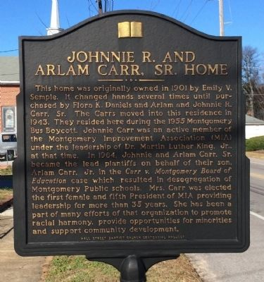 Johnnie R. and Arlam Carr, Sr. Home Marker image. Click for full size.