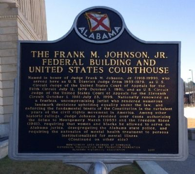 The Frank M. Johnson, Jr. Federal Building and US Courthouse Marker image. Click for full size.