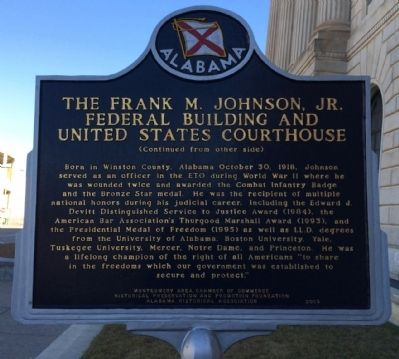 The Frank M. Johnson, Jr. Federal Building and US Courthouse Marker (reverse) image. Click for full size.