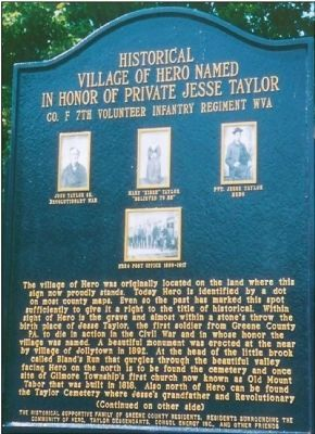 Historical Village of Hero Named in Honor of Private Jesse Taylor Co. F 7th Vol Infantry Regmt WV Marker image. Click for full size.