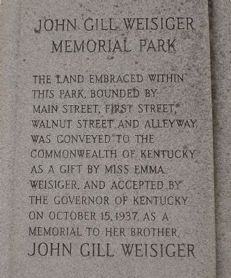 John Gill Weisiger Memorial Park Marker (overse) image. Click for full size.