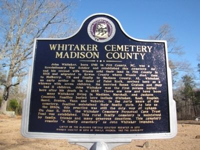 Whitaker Cemetery Marker image. Click for full size.