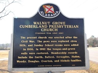 Walnut Grove Cumberland Presbyterian Church Marker image. Click for full size.