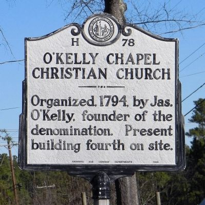O'Kelly Chapel Christian Church Marker image. Click for full size.