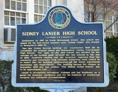 Sidney Lanier High School Marker image. Click for full size.