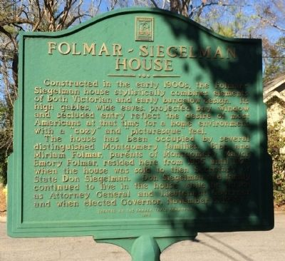 Folmar - Siegelman House Marker image. Click for full size.