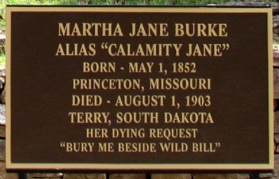 Martha Jane Burke Marker image. Click for full size.