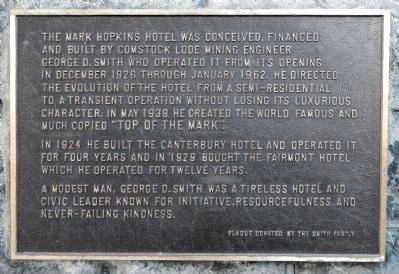 Mark Hopkins Hotel Marker image. Click for full size.