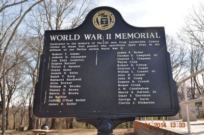 World War II Memorial Marker A-D side 1 update image. Click for full size.
