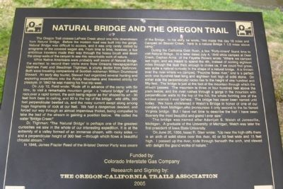 Natural Bridge and the Oregon Trail Marker image. Click for full size.
