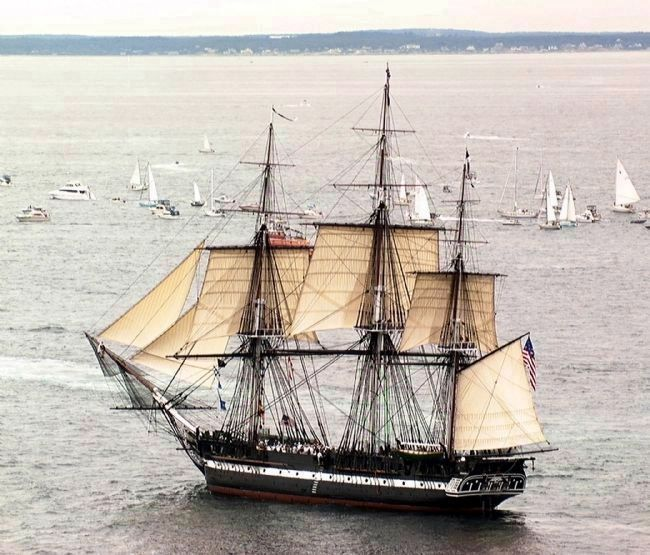 "USS <i>Constitution</i> ""Old Ironsides"" - under sail in Boston Harbor image. Click for full size."