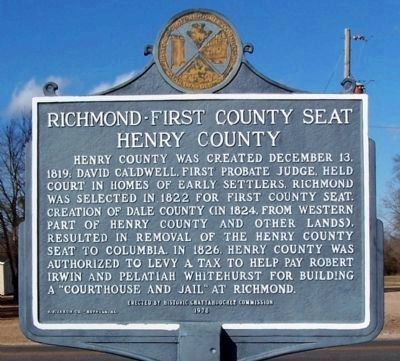 Richmond - First County Seat of Henry County Marker image. Click for full size.