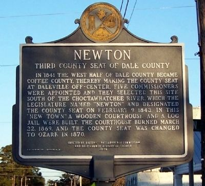 Newton - Third County Seat of Dale County Marker image. Click for full size.