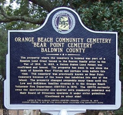 Orange Beach Community Cemetery Marker, front image. Click for full size.