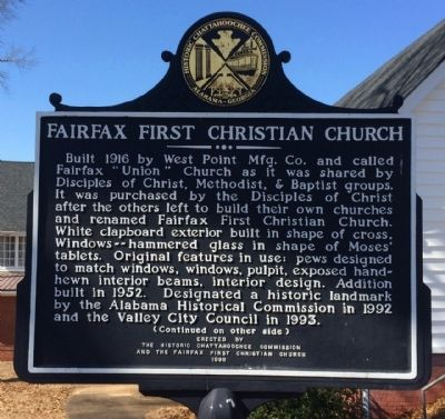 Fairfax First Christian Church Marker image. Click for full size.