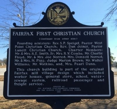 Fairfax First Christian Church Marker (reverse) image. Click for full size.
