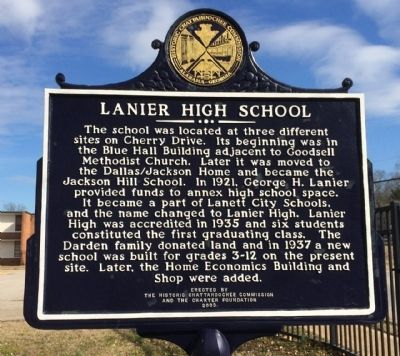 Lanier High School Marker image. Click for full size.