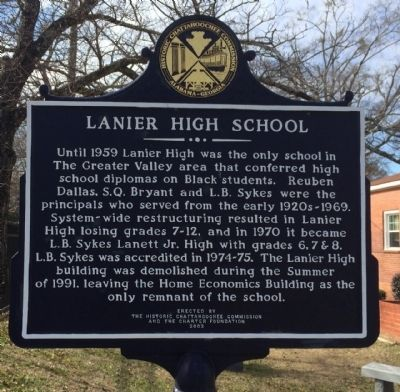 Lanier High School Marker (reverse) image. Click for full size.