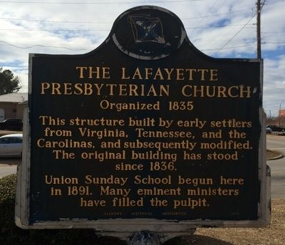 The LaFayette Presbyterian Church Marker image. Click for full size.