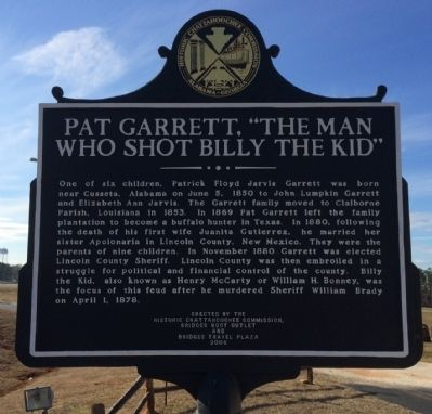 "Pat Garrett, ""The Man Who Shot Billy the Kid"" Marker image. Click for full size."