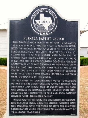 Purmela Baptist Church Texas Historical Marker image. Click for full size.