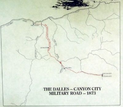 Map of the 1873 The Dalles - Canyon City Military Road image. Click for full size.