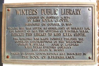 Winters Public Library Marker image. Click for full size.