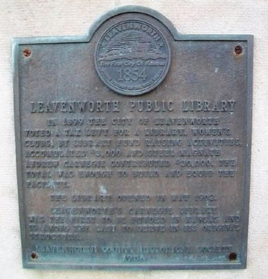 Leavenworth Public Library Marker image. Click for full size.