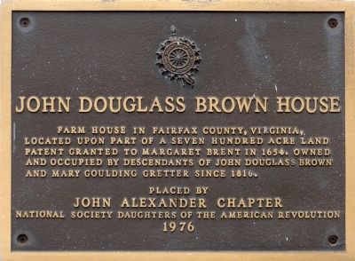 John Douglass Brown House Marker image. Click for full size.