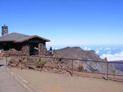 Haleakala National Park Visitor Center-distant photo image. Click for full size.