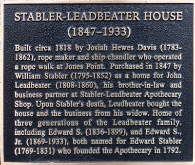 Stabler-Leadbeater House Marker image. Click for full size.