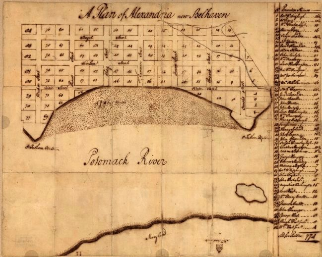 Washington's 1749 Plan of Alexandria image. Click for full size.