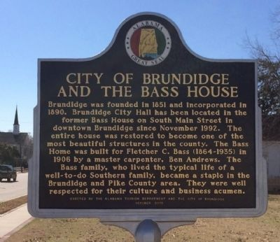 City of Brundidge and the Bass House Marker image. Click for full size.