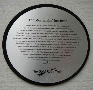 The Mechanics' Institute Marker image. Click for full size.