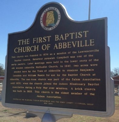 The First Baptist Church of Abbeville Marker image. Click for full size.