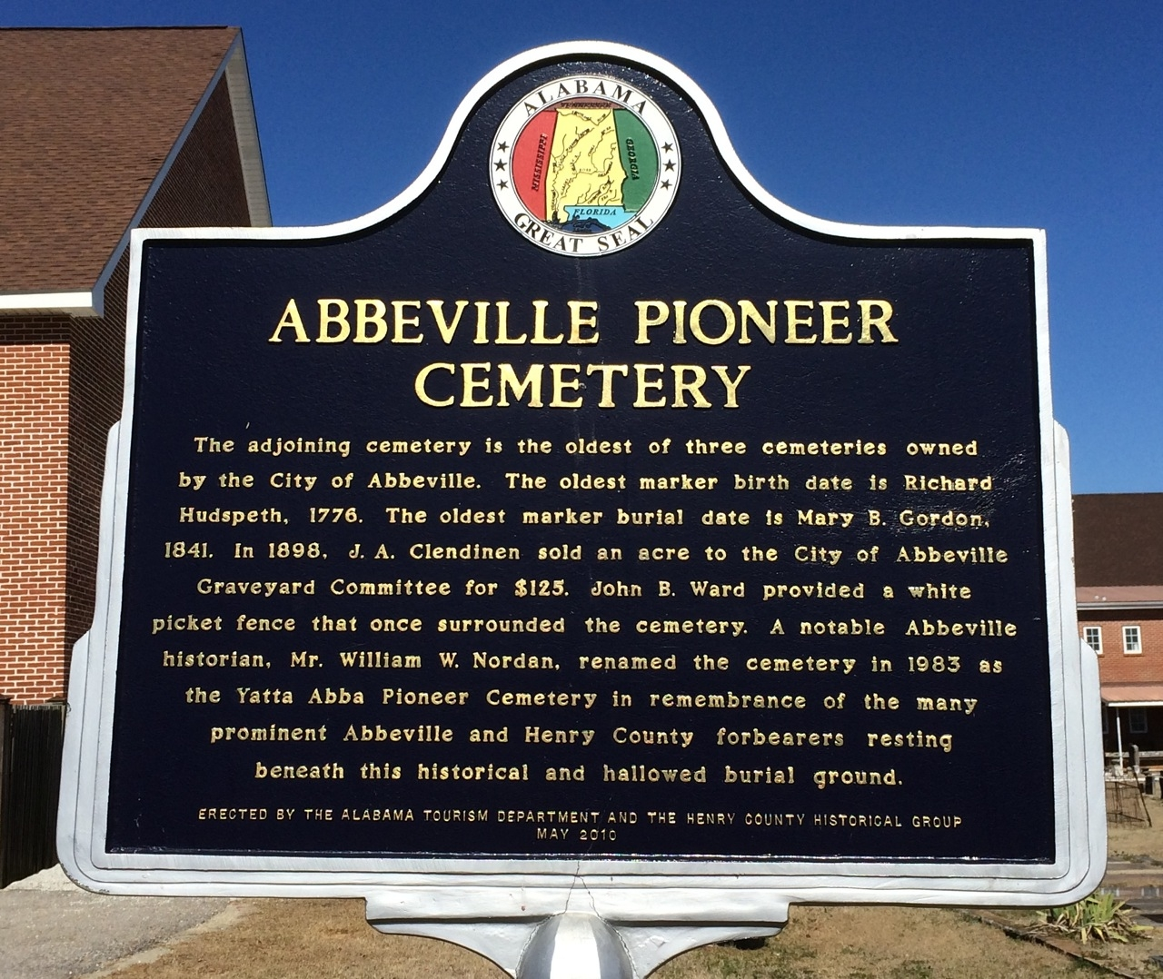Abbeville Pioneer Cemetery Marker