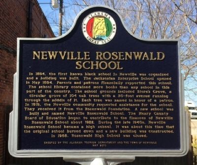 Newville Rosenwald School Marker image. Click for full size.