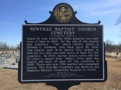 Newville Baptist Church Cemetery Marker image. Click for full size.