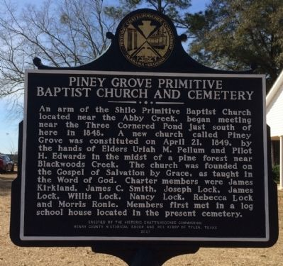 Piney Grove Primitive Baptist Church and Cemetery Marker image. Click for full size.