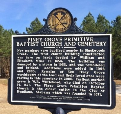Piney Grove Primitive Baptist Church and Cemetery Marker (reverse) image. Click for full size.