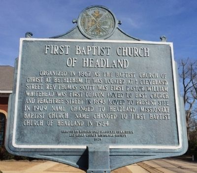 First Baptist Church of Headland Marker image. Click for full size.