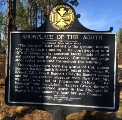 Showplace of the South Marker (reverse) image. Click for full size.