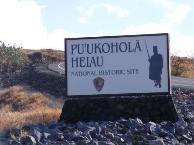 Pu'ukohola Heiau National Historic Site-sign at the entrance to the site image. Click for full size.
