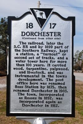 Dorchester Marker (side 2) image. Click for full size.