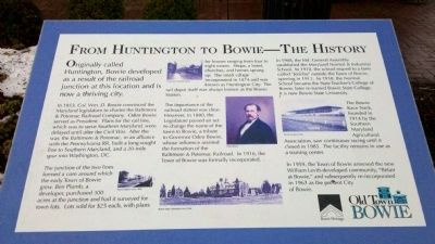 From Huntington to Bowie - The History Marker image. Click for full size.