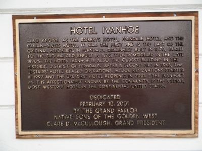 Hotel Ivanhoe Marker image. Click for full size.